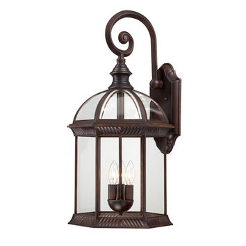 Nuvo Lighting 60/4968 Boxwood Rustic Bronze Finish Three Light Outdoor Wall Sconce with Clear Beveled Glass
