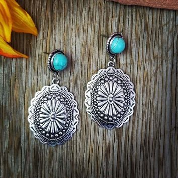 Natural Stone Turquoise Concho Dangle Earrings
