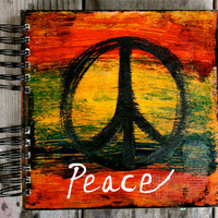 "Peace - One of a Kind 8""x8"" Mixed Media Sketchbook - Notebook, Blank Journal, Original Peace Art, Stationary"
