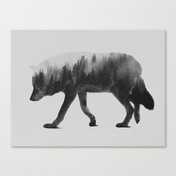 The Wolf (black & white version) Canvas Print by Andreas Lie