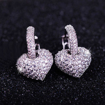 Brilliant Heart Full Rhinestone Bar Earrings - LilyFair Jewelry