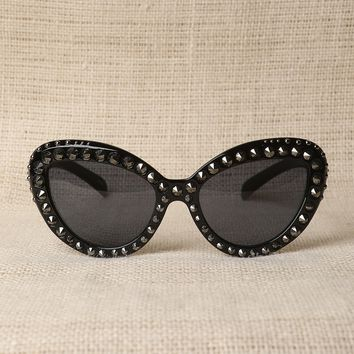 Studded Semi-Round Sunglasses