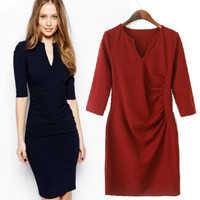 Women's Fashion Stylish V-neck Slim Ruffle Sexy Half-sleeve Skirt One Piece Dress [5013270148]