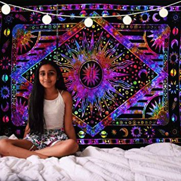 Future Handmade Mandala sun moon tie dye twin tapestry wall tapestry hippie tapestry wall hanging Indian psychedelic tapestry mandala beach throw boho tapestries bohemian bedspread Size 81x55 Inches