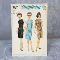 RARE Vintage Dress Sewing Pattern Simplicity 6611, Size 14 Medium 1960s Short Round Neckline Dress with Pleated Overskirt