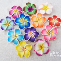 Flower Beads, Polymer Clay, 12 Pcs, Fimo Flowers, Clay Beads, Plumeria Beads