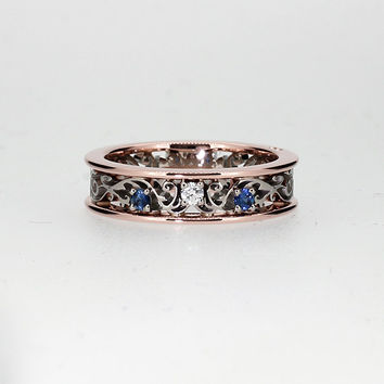 Ready to ship size 5.5, Blue sapphire filigree ring, diamond ring, two tone, rose gold, filigree engagement, blue wedding band, wedding