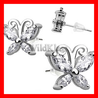 Pair of .925 Sterling Silver CZ Dainty Butterfly Tiny Stud Earrings Cartilage Earring Helix Jewelry Tragus Piercing Hex Conch Auricle