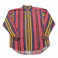 Vintage 90s Pink/Yellow/Purple Striped Button Up Shirt Mens Size Medium