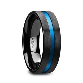 Blue Center Grooved Black Ceramic Wedding Band, Flat, Brushed