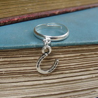 Antiqued Silver Lucky Horseshoe Charm Ring