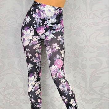 Floral Printed Leggings Hand Studded, Free Shipping in the U.S.