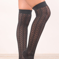 Kawaii Crochet Over the Knee Socks in Charcoal - $14.00 : ThreadSence.com, Your Spot For Indie Clothing & Indie Urban Culture