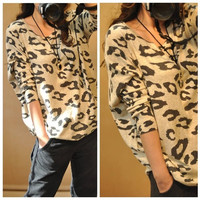 New Women's Animal Leopard Print Batwing Long Sleeve Sweater Loose Pullover Jumper VVF (Color: Leopard) = 1920380676