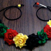Rasta Flower Headband, Flower Crown, Flower Halo, Festival Wear, EDC, Coachella, Ezoo,Ultra Music Festival, Rave, America