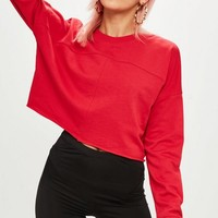 Missguided - Red Raw Hem Crop Sweatshirt