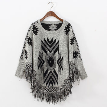 Batwing Sleeve Tassels Scarf Pullover Sweater [8115659329]