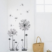 Black Dandelion Vinyl Wall Sticker