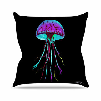"Ivan Joh ""Night Of Jellyfish"" Black Purple Outdoor Throw Pillow"