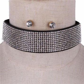 """13"""" hematite crystal collar choker necklace .25"""" earrings 1.25"""" wide 11 lines"""