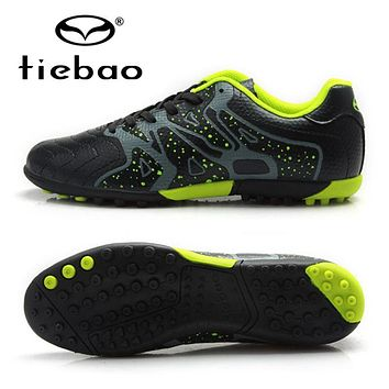 TIEBAO Professional Boys Football Soccer Shoes Top Quality TF Turf Rubber Soles Black Soccer Cleats Sports Sneakers Boots
