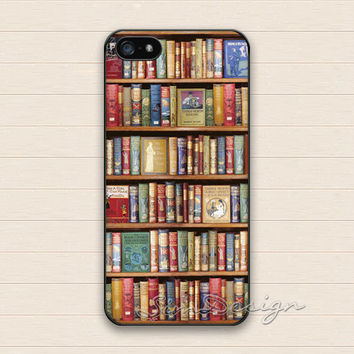 Bookshelf iPhone 5 Case,iPhone 5s Case,iPhone 4 4s Case,Samsung Galaxy S3 S4 Case,Bookshelf Books Lover Hard Plastic Rubber Cover Skin Case