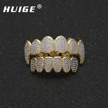 ac DCCKO2Q Gold Color Hip Hop Micro Pave Cubic Zircon Teeth Grillz Caps Top&Bottom Men Women Vampire Fangs Grills set
