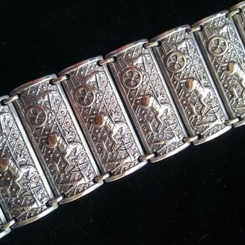 ON SALE Silver Wide Art Deco Bracelet - 1950's High End Horse Chariot Mexico Mexican 925 Taxco Style Egyptian Revival Signed Jewelry