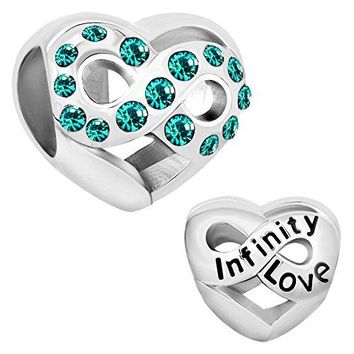 Charmed Craft Birthday Charms Heart Love Infinity Charms Infinity Love Charms for Snake Chain Bracelets