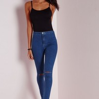 Missguided - High Waist Ripped Skinny Jeans Mid Blue