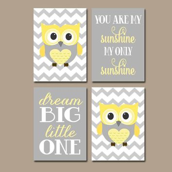 OWL Nursery Decor, Yellow Gray Owl Wall Art, Baby Girl Owl Decor, Owl Theme, CANVAS or Print, You Are My Sunshine, Dream Big, Set of 4