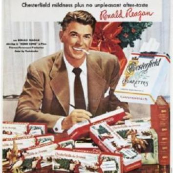 Reagan Ronald Chesterfield Cigarettes Ad Poster Standup 4inx6in