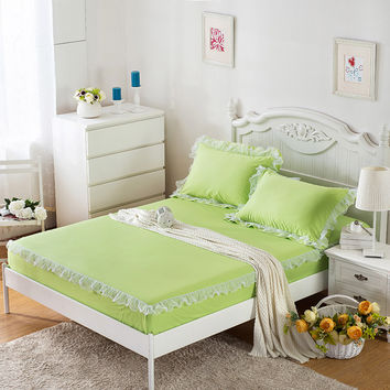 3-Pieces Lace Edge Cotton Bed Sheet Sets Fitted Bed Sheet Queen Size King Size Bed Sheet With An Elastic Band Mattress Topper