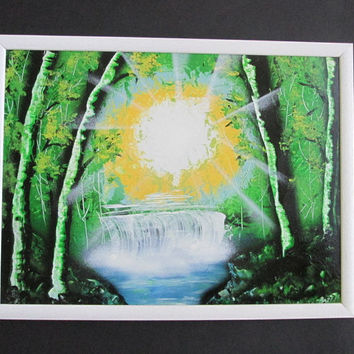 green forest spray paint art,framed artwork,forest home decor,unique painting,fedex shipping,gift for him,jungle art,forest painting,gifts