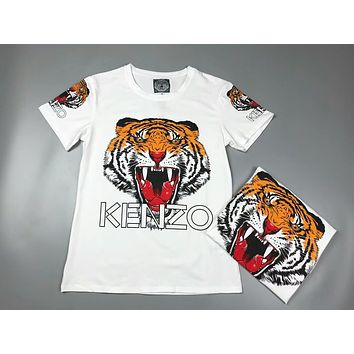 KENZO Fashion Women Men Personality Tiger Head Print Short Sleeve Round Collar T-Shirt Top I-AA-XDD