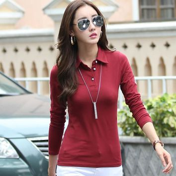 New 2017 Polo Women Long Sleeve Casual Polo Shirt For Women Poleras Cotton Polos Mujer Autumn Winter Tops Tees Ladies Polo