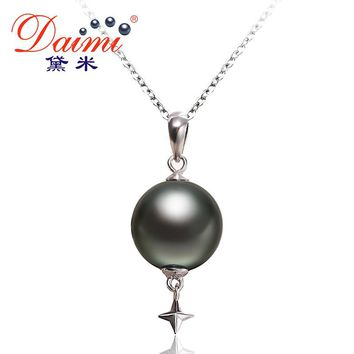 Star Pendant Black Tahitian Pearl Pendant Sterling Silver Jewelry Simple Deep See Pearl Pendant Necklace
