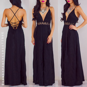 Twisted Fate Embroidered Maxi Dress - Black