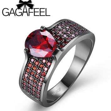 GAGAFEEL Red Color Crystal Black Gold Filled Ring For Women Unique Design Vintage Party Wedding Rings Best Gift US Size