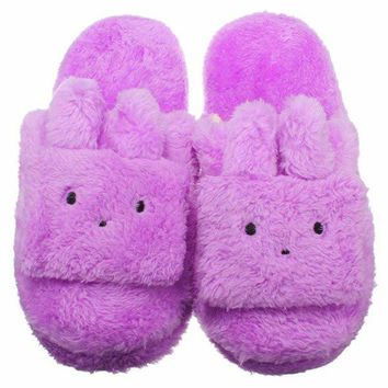 Cute Rabbit Ears Slip On Indoor Flat Home Shoes Bunny Slippers