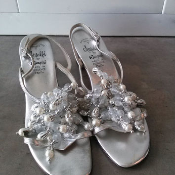 Vintage 1960s Silver Sandals Jeweled Pearls Crystals US9 2014108K93