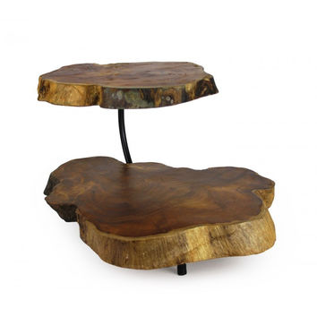 Quest Collections Two Tier Teak Wood Tray and Stand