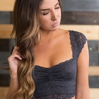 Lace And Love Bralette (Charcoal)