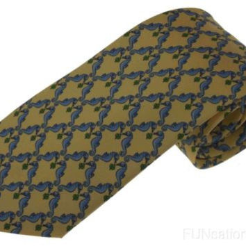 Olimpo 100% Silk Neck Tie Gold Sea Horses Nautical Mens Classic Business Dress