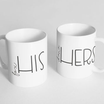 PERSONALIZED his and hers / hers and hers / his and his - 2 11oz ceramic coffee mugs | valentine + love decor, valentines day