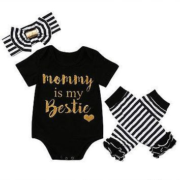 Newborn baby girls clothing sets Baby Girls Christmas New Clothes  Romper+Leg Warmer +Headband 856c042a22a3
