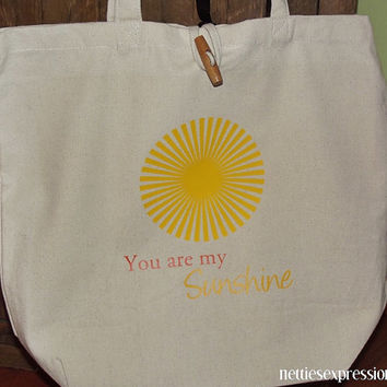 Customized 100% Recycled Cotton Tote Bag with Heat Transfer Vinyl - You are my Sunshine - book bag/shopping bag/grocery bag
