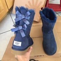 ❤shosouvenir❤ UGG AUTHENTIC BAILEY BOW NAVY BOOTS