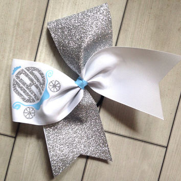 Cinderella Cheer Bow - Monogrammed Silver Glitter Disney World Cinderella Cheer Bow