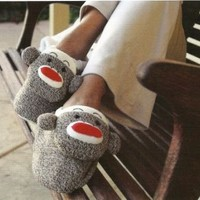 NEW Classic Sock Monkey Plush Slippers Adult Size 9/10